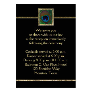 Black and Gold Peacock Feather Enclosure Card Business Card Template
