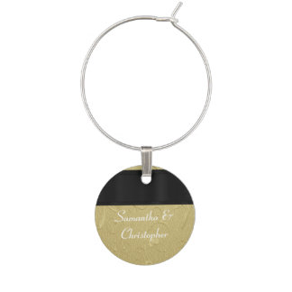 Black and gold personalized wine charms