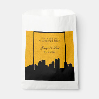 Black and Gold Pittsburgh Wedding Cookie Table Favour Bag