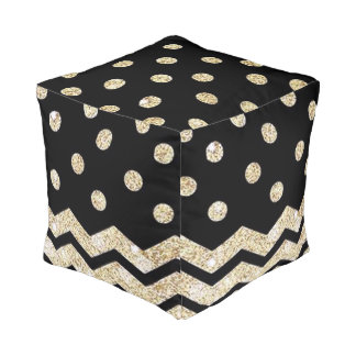 Black and Gold Polka Dot and Chevron Pouf