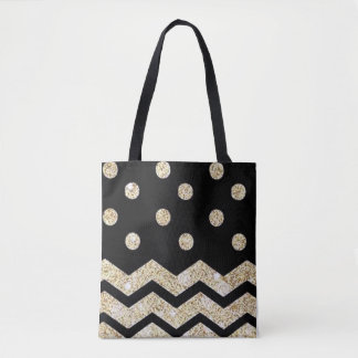 Black and Gold Polka Dot and Chevron Tote Bag