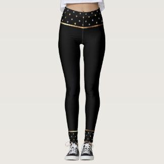 Black and Gold Polka Dot Trend Leggings