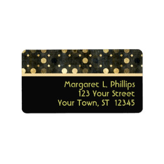 Black and Gold Polka Dots Label