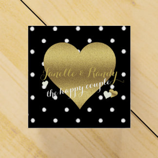 Black And Gold Polka Dots Party Favor Boxes