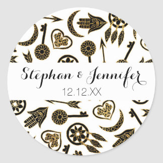 Black and Gold Popular Symbols on White Classic Round Sticker