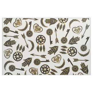 Black and Gold Popular Symbols on White Fabric