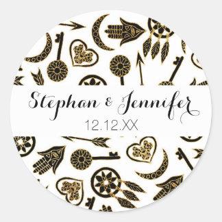 Black and Gold Popular Symbols on White Round Sticker