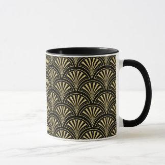 Black and Gold Posh Deco Fan Pattern Mug