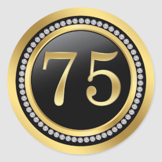 Black and gold, printed diamonds 75th Birthday Classic Round Sticker