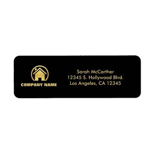 Black and Gold Professional Real Estate Return Address Label