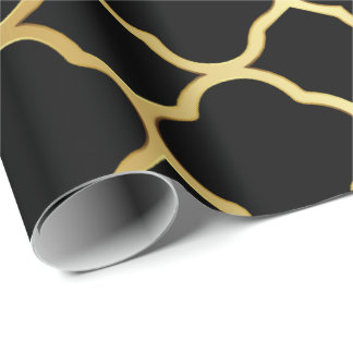 Black and Gold Quatrefoil Pattern