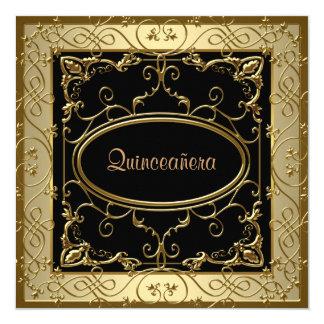 "Black and Gold Quinceanera 5.25"" Square Invitation Card"
