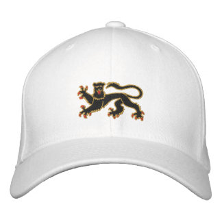 Black and gold rampant lion embroidered cap embroidered baseball caps