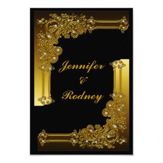Black and Gold RSVP Wedding Invitation