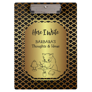 Black and Gold Scallop Pattern Writing Ideas Clipboard