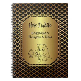 Black and Gold Scallop Pattern Writing Ideas Notebooks
