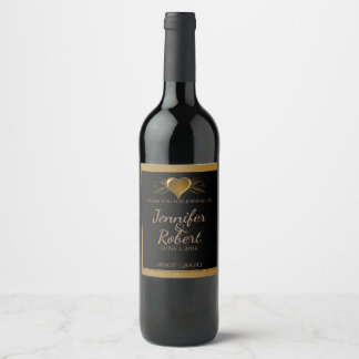 Black and Gold Scroll Accent Wine Label