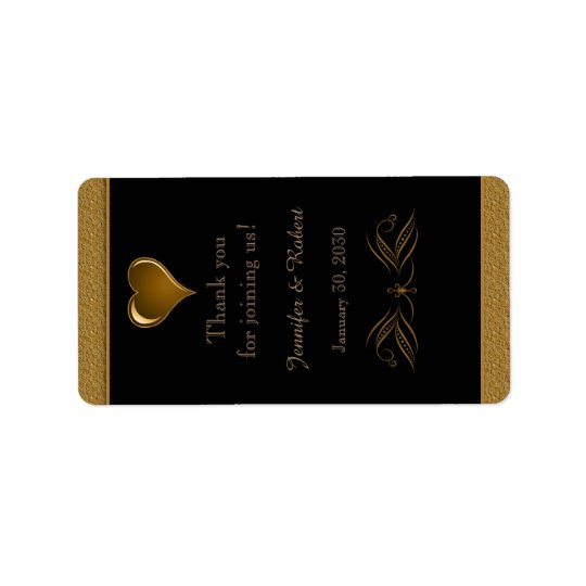 Black and Gold Scroll Wedding Lip Balm Label