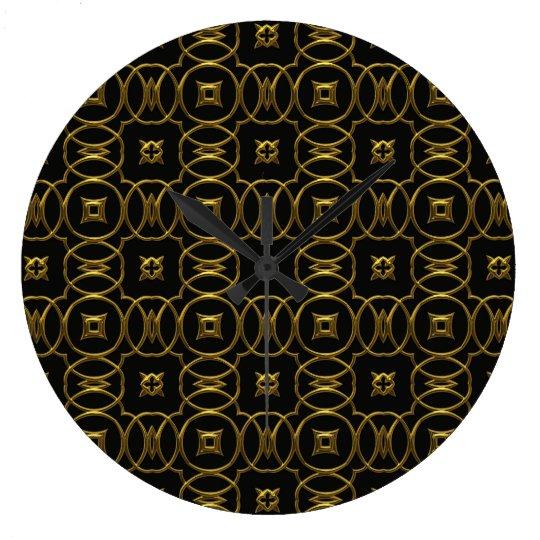 Black and Gold Shiny Geometric Pattern Elegant Clocks