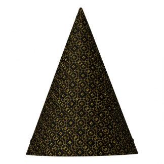 Black and Gold Shiny Geometric Pattern Elegant Party Hat