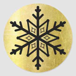 Black and Gold Snowflake Stickers
