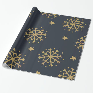 Black and Gold Snowflake Wrapping Paper