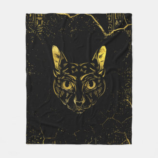 Black and Gold Sphynx Cat Fleece Blanket
