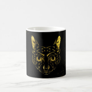 Black and Gold Sphynx Cat on Grunge Egypitan Coffee Mug