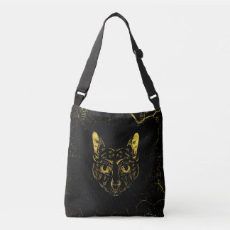 Black and Gold Sphynx Cat on Grunge Egypitan Crossbody Bag
