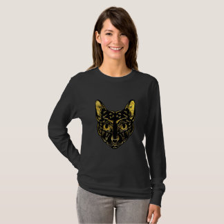 Black and Gold Sphynx Cat T-Shirt