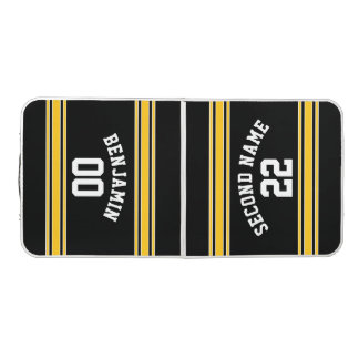 Black and Gold Sports Jersey Custom Name Number Beer Pong Table