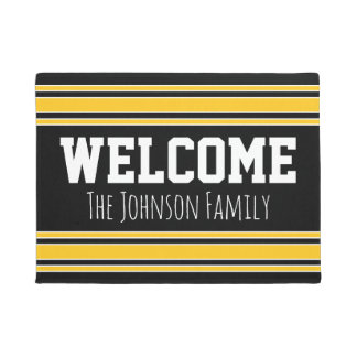 Black and Gold Sports Jersey Custom Name Number Doormat