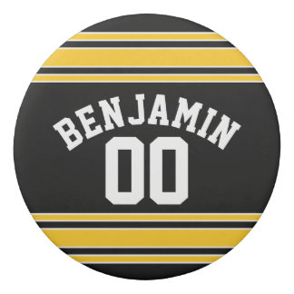Black and Gold Sports Jersey Custom Name Number Eraser