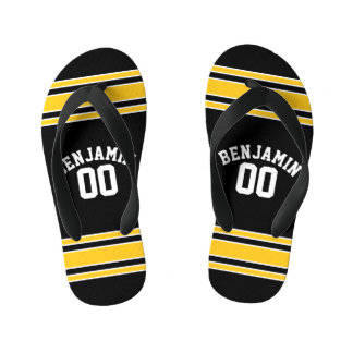 Black and Gold Sports Jersey Custom Name Number Kid's Flip Flops