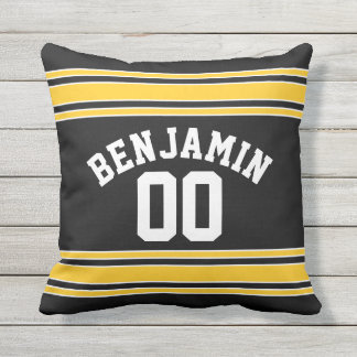 Black and Gold Sports Jersey Custom Name Number Outdoor Pillow