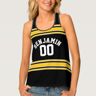 Black and Gold Sports Jersey Custom Name Number Tank Top