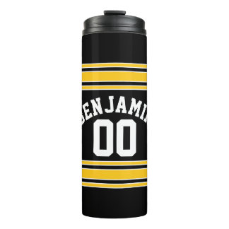 Black and Gold Sports Jersey Custom Name Number Thermal Tumbler