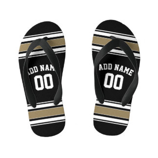 Black and Gold Sports Jersey Name - Can EDIT Color Kid's Flip Flops
