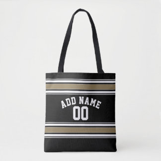 Black and Gold Sports Jersey Name - Can EDIT Color Tote Bag