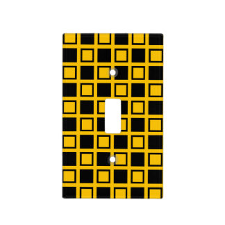 Black and Gold Squares Light Switch Cover