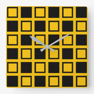 Black and Gold Squares Square Wall Clock