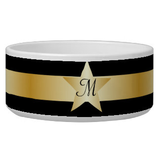 Black And Gold Star Monogrammed Pet Bowl