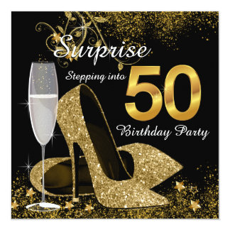 "Black and Gold Stepping Into 50 Birthday Party 5.25"" Square Invitation Card"