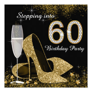 "Black and Gold Stepping Into 60 Birthday Party 5.25"" Square Invitation Card"