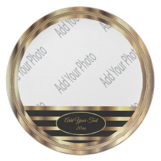 Black and Gold Stripe Keepsake Plate