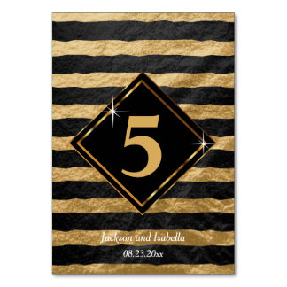 Black and Gold Stripe Pattern Table Card
