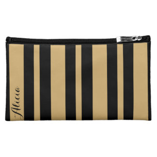 Black and Gold Striped Makeup Bag