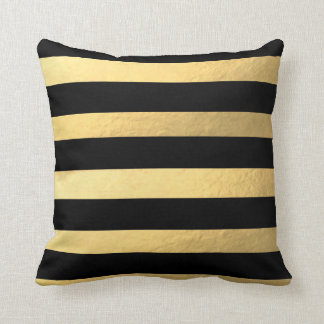 Black and Gold Striped Pillow