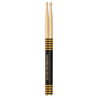 Black and Gold Stripes Custom Name V08 Drumsticks