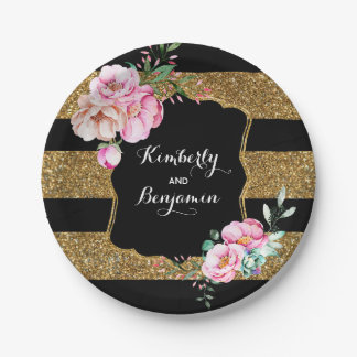 Black and Gold Stripes - Pink Floral Wedding Paper Plate